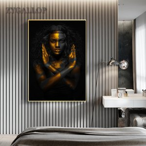 Gold schwarze Frau Leinwand-Malerei Afrikanische Kunst Frau Poster Moderne Gemälde für Wohnzimmer-Wand-Bilder Home Decoration Cuadro
