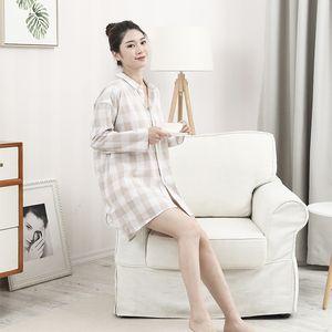 Weiyu Aishe 20 spring comfortable long-sleeved cotton nightdress cardigan pajamas pajamas thin plaid women's home wear