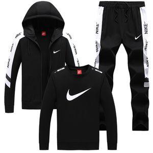 Homens Treino 3 Set Zipper Hoodies + calças Casual topo Sweat Slim Fit Sportswear Masculino de homens Treino Masculino