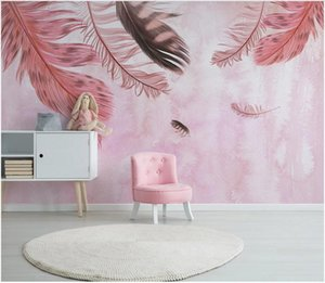3d photo wallpaper custom Modern minimalist pink feather small fresh nordic background home decor wallpaper for walls 3d wall sticker