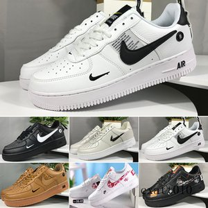 New WHITE x 1 Low Forces MCA University Blue Mens Running Shoes Sports fashion Designers Sneakers air one des chaussures off shoes H3B6T