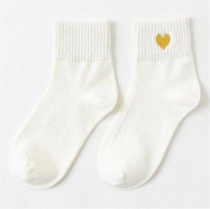 Çorap Spor Geometrik Baskılı Çorap AŞK Tatlı Bayan Çorap Stretch Katı Renk Casual Kadın