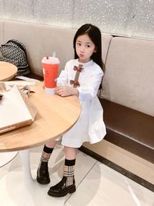 Yeni Yaz Sonbahar Kız Elbise Moda Long'un kollu elbise Bow Bebek Çocuk Kız Bebek Beyaz prenses Paty Giyim