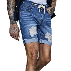 2020 Summer New Mens Stretch Short Ripped Jeans Fashion Casual Slim Fit High Quality Elastic Denim Shorts Male Clothes