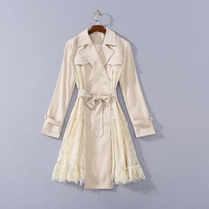 2020 Autumn Newest Luxury Long Sleeve Notched-Lapel Lace Belted Panelled Pink Knee-Length Trench Coat Runway Long Outwear Coats JL151735