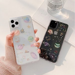 Clear Planet Soft Phone Case For Apple iPhone 11 Pro XS Max X XR 7 8 6 6s Plus SE 2020 Glitter Stars Moon Back Cover