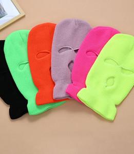 3-Hole Full Face Tampa máscara de esqui de Inverno Cap Balaclava capa Beanie Aqueça Tactical Hat chapéus de festa 14 cores LJJK2449