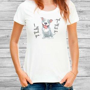 Cute Funny Pitbull-Hunde-T-Shirt für Frauen Cotton Missy Fit T Pit Bull