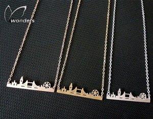 All'ingrosso-2015 Skyline dei monili oro / argento / oro rosa Amicizia regalo in acciaio inox Paesaggio urbano London Collana 3dDb #