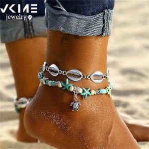 VKME Bohemian Starfish Shell Anklet Bracelet For Women Star Summer Beach Foot Charm Jewelry 2020 New Gift T200714