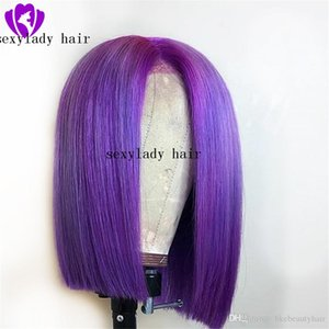 Hotselling simualation human hair purple blonde red short bob synthetic lace front wig heavy density natural hairline for white women Wigs