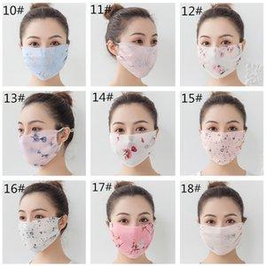 Шелковый шифон женские лица маска для лица шарф лето цветочные печатные маски для лица анти пыль солнечный настольный рот маска крышка моющиеся прочный лицевой щит 2020