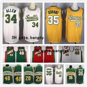 Vintage Männer SeattleSuperSonicsnba Gary Payton 20 Shawn Kemp 40 Kevin Durant 35 New Ray 20 Allen genähtes Basketball-Trikots