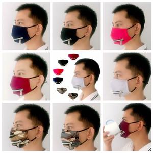 2 in 1 Ventilgesichtsmaske mit justierbarem Zipper Staubdichtes Baumwolle Waschbar Schutz Designer Masken 7styles RRA3358