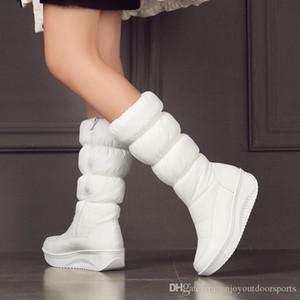 Moda Mulheres da neve do inverno botas quentes Cunhas Salto Alto Botas Sexy apertados sapatos de longas Plataformas Mulher botas de cano alto meninas mulher Sapatos Y3B