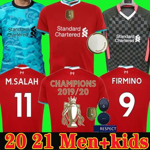 Player versão 20 21 LVP Mohamed camisas de futebol Camisa de futebol M. SALAH Firmino VIRGIL MANE KEITA 2020 2021 goleiro Men + Crianças kit UNIFOR