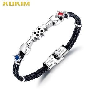 Xukim Jewelry leather bracelet men double arrow 8 figure stainless steel star Bracelet & Banglepunk jewelry dropship KBO247