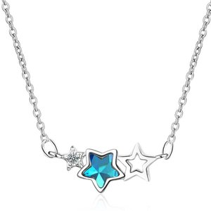 Blue Cubic Zirconia Star Necklace Pendants For Women Cocktail Party Fashion Jewelry Anniversary Gift Ladies Short Chain Necklaces 347