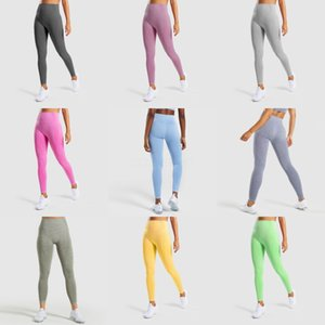 Women Stretch Yoga Fitness Leggings Pants Hip Lift Splicing Color Tight Trousers Gym Clothes Running Training Tights#109