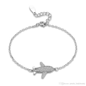 Zircon Charm Bracelets Sterling Silver Personality Creative Aircraft Bangles Bracelet Fashionable Jewelry Thanksgiving Day Gifts POTALA190