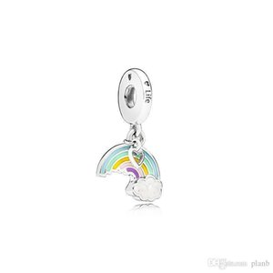 925 Sterling Silver Rainbow Pendant Charms Original box for Pandora European Bead Charms Bracelet Necklace jewelry making accessories