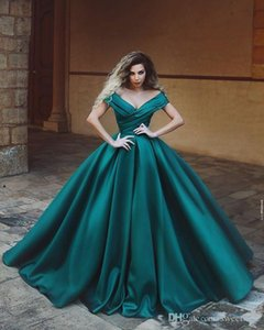 Stylish 2021 Said Mhamad Off the Shoulder A Line Evening Dresses Dark Green Sleeveless Party Prom Occasion Dresses