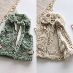 TAO.CATkids 2019 estilo de invierno de Corea nueva capa del chaleco niñas pequeñas y medianas piel turca chaleco de la capa de color sólido