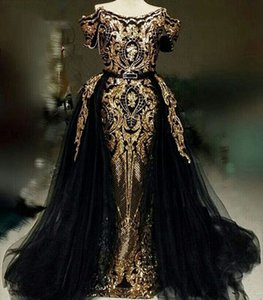 Long Prom Dresses 2020 Mermaid Off The Shoulder Sequin Black And Gold Arabic Women Formal Evening Gowns Detachable Train Homecoming Dress