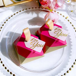Paper Candy Boxes Wedding Favors Gift Box Packaging Rose Red Diamond Chocolate Goodie Gifts Bags Sweet Birthday Party Decoration