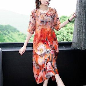 Fashion Boho Print Mulberry Silk Vintage Midi Dress 2020 Elegant Female Plus Size Sundress Summer Party Bodycon Runway Vestidos