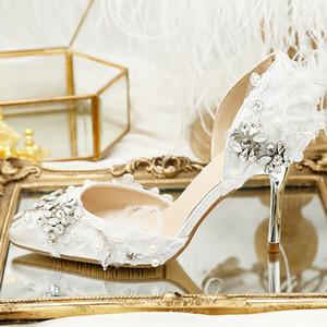 Comfortable Lace Crystal Wedding Shoes Designer Women Sandals 9cm Feather Bridal Heels 2020 Under 100 Pointy Toe Pumps Satin Wedding Heels