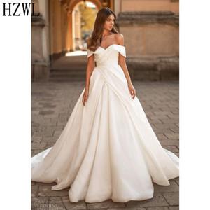 Off the Shoulder White Satin Ball Gown Wedding Dresses Ruffles Zipper Back Concise Bridal Dress for Wedding vestidos de novia