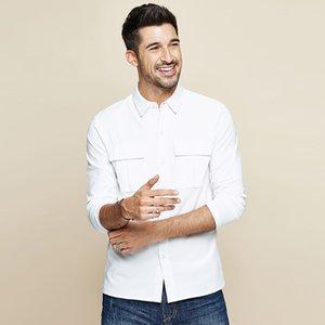 KUEGOU Outono 2020 100% Algodão Branco bolso shirt Homens Dress Casual Slim Fit manga comprida masculina marca de moda Blusa 7765