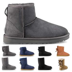 las mujeres botas de nieve de la manera Mini tobillo arco corto damas de arranque de invierno niñas Negro Gris Café antílope marino marrón para mujer botines