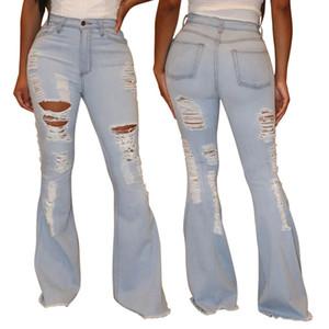 Femmes Pantalon large Leg Denim Femme Retro Trou Sexy solide Ripped Jeans Flare Pantalon taille haute Rue Skinny Lady Pant