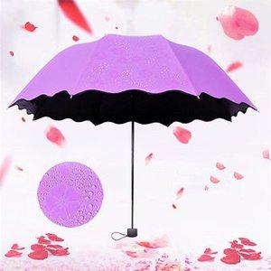 100pcs / lot parapluie anti-UV parapluie pare-soleil Magic Umbrella Dome Fleur Portable 3 Écran solaire plié antipoussière EEA18877