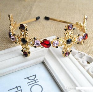 European and American Baroque fashion personality cross headdress crystal color gem hairpin fashion crown bride headband