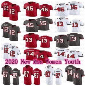 Männer Frauen Jugendliche 2020 New Tampa12 Tom Brady Jersey BuchtSeeräuber87 Rob Gronkowski Evans Chris Godwin Devin Weiß Jersey