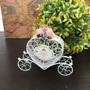 1PC Love Heart Carriage Candy Box Designed Полые одолжения Подарки Коробка Сумка с лентой цветов Baby Shower Свадебных товарами для вечеринок