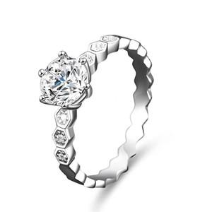 Solid 925 sterling sterling ring cz diamante a nido d'ape di nozze promessa promessa anello dito design classico design reale placcato platino 6 torns gioielli donne