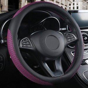 Cuero artificial de dirección Styling Interior del coche deslizamiento de las ruedas cubierta transpirable Protector anti resistente al desgaste Universal Fit 38cm 49gG #