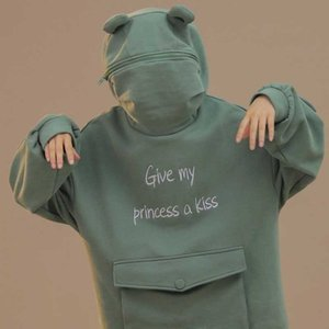 NiceMix Women Autumn Thick Loose Sweatshirt Harajuku Letters Printed Lovely Frog Casual Hooded Hoodies Pullover Female Thicken C T200714