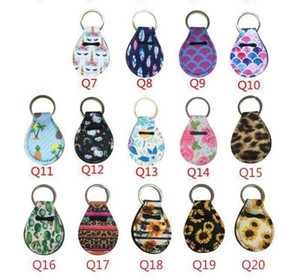 Neoprene Quarter Holder Keychain Diving Material for Party Favor Unicorn Pattern Floral Print with Metal Ring