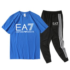 Armáni mens designer t shirts Men Hedging Sportsuits Set Quick dry joggers Leisure designer neck T-shirt Shorts Tracksuit 100% Cotton Fitnes