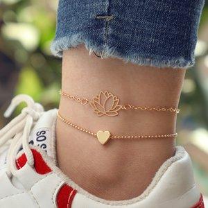 Natural Corazón de Lotus para el tobillo Set Barefoot Crochet Sandals joyería nuevo piernas para el tobillo El tobillo del pie pulseras para las mujeres