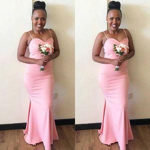 2020 Mermaid Bridesmaid Dresses Spaghetti Straps Bodice African Country Boho Wedding Guest Dresses Zipper Back Plus Size