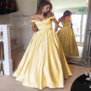 Silver Yellow Long Prom Dresses 2020 Off The Shoulder Satin Beaded Evening Formal Dress Sexy Backless Rose Gold Prom Party Gowns With Pocket