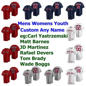 32 Matt Barnes Jersey Womens 28 JD Martinez 11 Rafael Devers 12 Tom Brady Wade Boggs Jackie Bradley Jr. Baseball Jerseys costurado personalizado