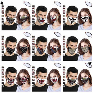 DHL Shipping Skull Print Face Mask Outdoor Sports Halloween Party Cosplay Masks Reusable Dust Windproof Cotton Mask 8 Styles X431FZ