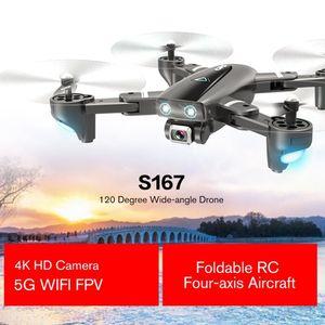 Nueva S167 5G Wifi FPV RC aviones no tripulados con 4K HD cámara de gran angular Drone Drone Posicionamiento GPS plegable RC de cuatro ejes Aviones 2020